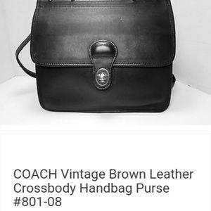 COACH Vintage Black Leather Crossbody Handbag Purs